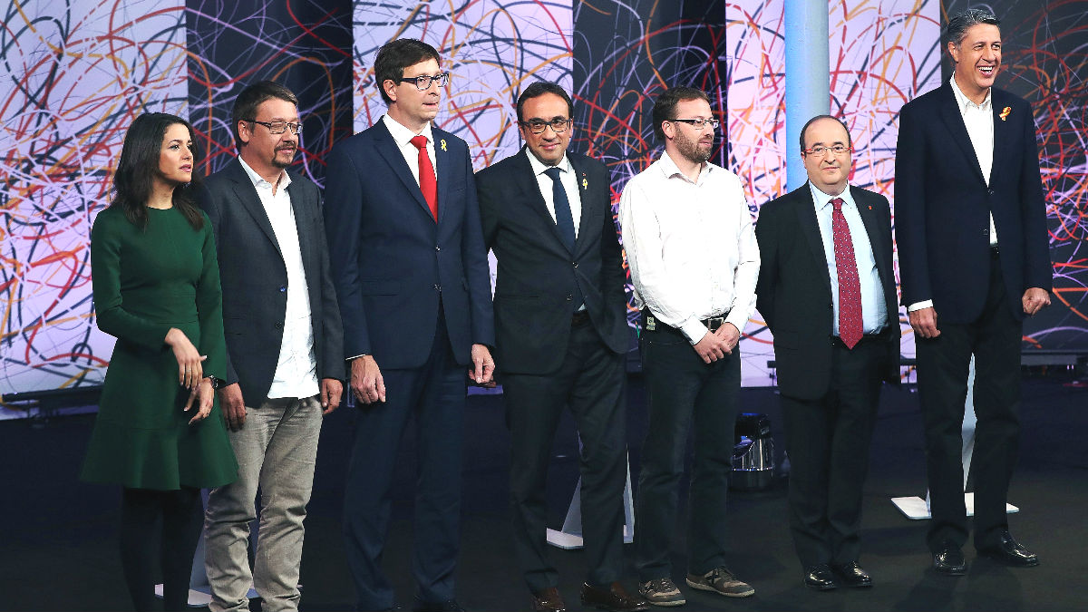 Los candidatos al 21-D, en el debate electoral organizado por La Sexta.