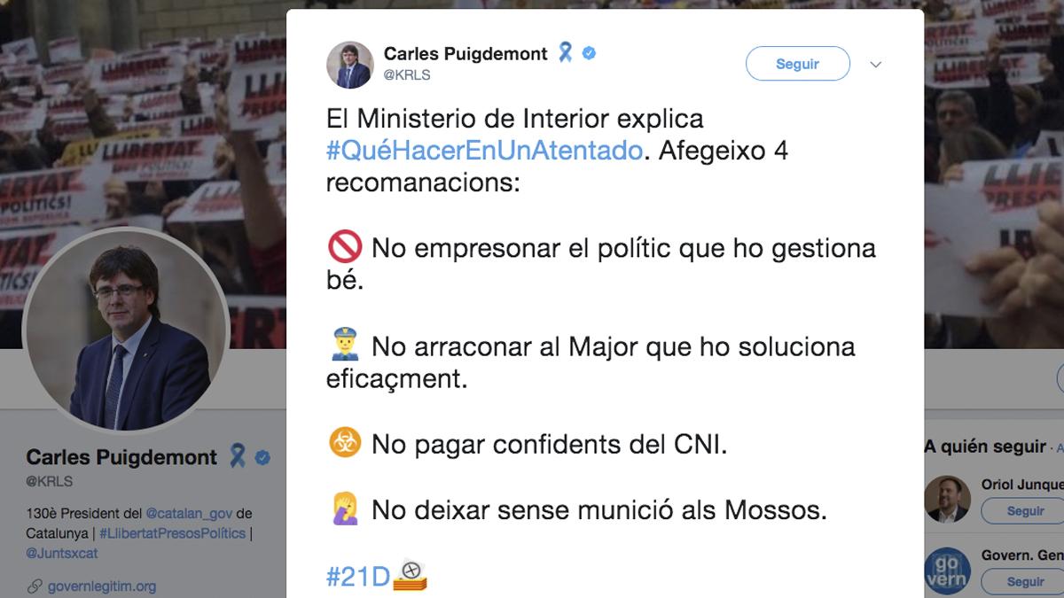Carles puigdemont se burla de los consejos de interior en Gobierno de espana ministerio del interior