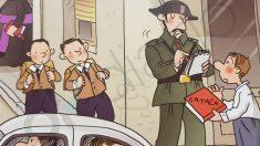 Un Guardia Civil multa a un niño por hablar catalán, según uno de los libros de la editorial La Galera.