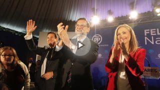 Mariano Rajoy y Cristina Cifuentes en la cena de Navidad del PP en Las Rozas, Madrid. (FOTO: Francisco Toledo)