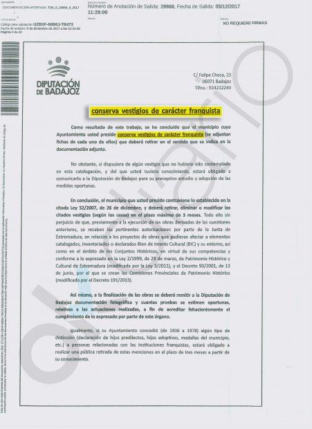 Carta enviada por la Diputación de Badajoz para la eliminación de nombres de calles por la Ley de Memoria Histórica