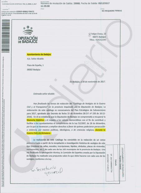 La carta de la Diputación de al ayuntamiento de Badajoz por la Ley de memoria Histórica