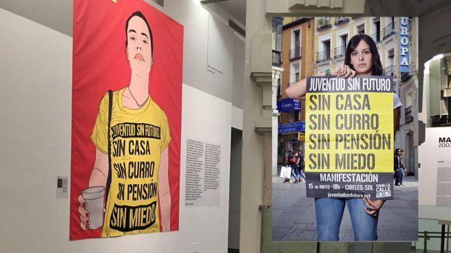 Carmena expone en Cibeles una gran pancarta del movimiento político que impulsó Rita Maestre