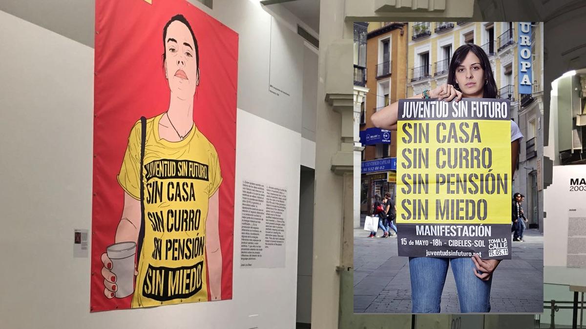 Pancarta colgada en el Ayuntamiento y Rita Maestre en 2011.