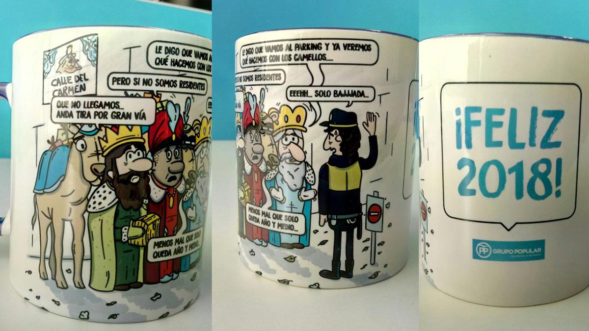 Así es la taza que el PP ha regalado como recuerdo de Navidad.