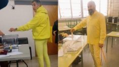 Electores votando vestidos completamente de amarillo.