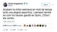 El tuit de Carles Puigdemont justo después de acabar el Clásico.