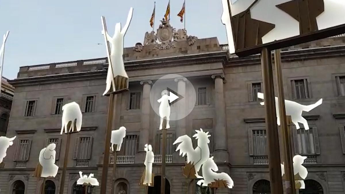 Belén situado en la plaza Sant Jaume de Barcelona