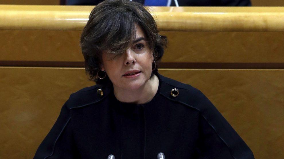 La vicepresidenta, Soraya Sáenz de Santamaría, en el Senado.