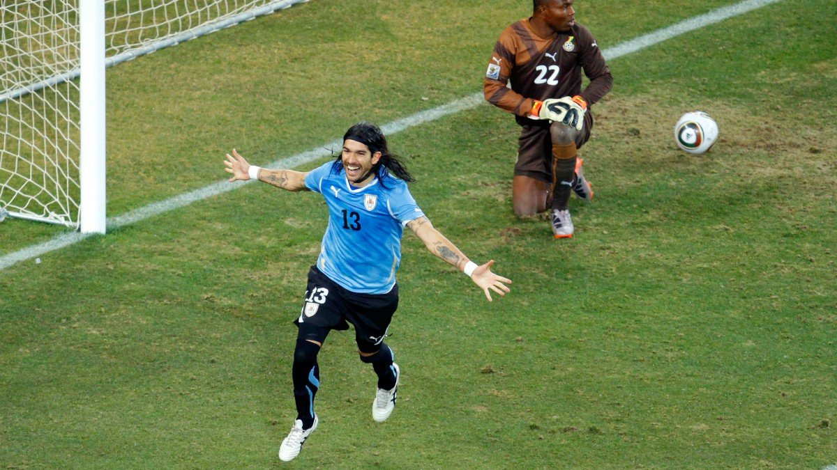 Abreu celebra un gol en el Mundial de 2010. (Getty)