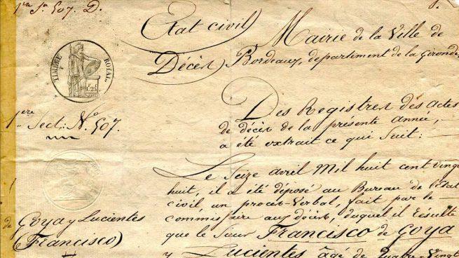 Acta de defunción de Francisco de Goya