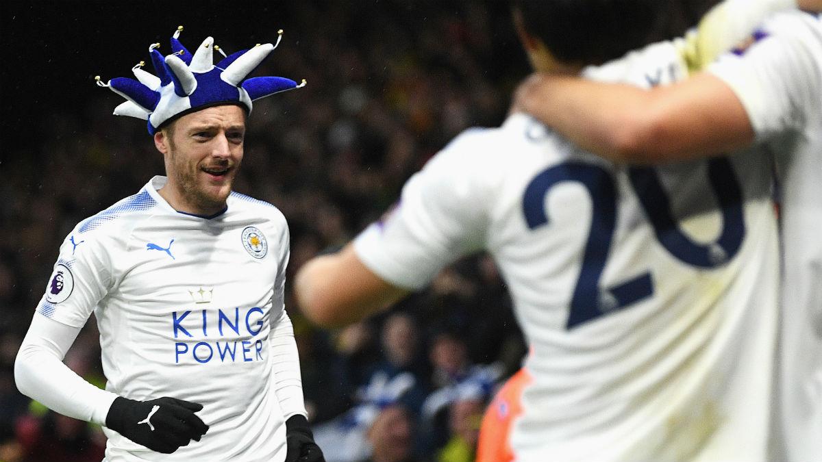 Vardy celebra un gol en el Boxing Day. (Getty)
