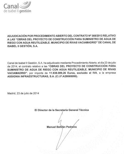 Contrato adjudicado a Assignia por el Canal de Isabel II.