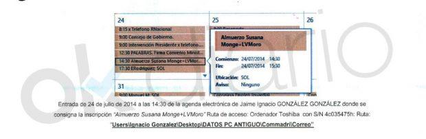 Agenda de Ignacio González intervenida por la UCO.