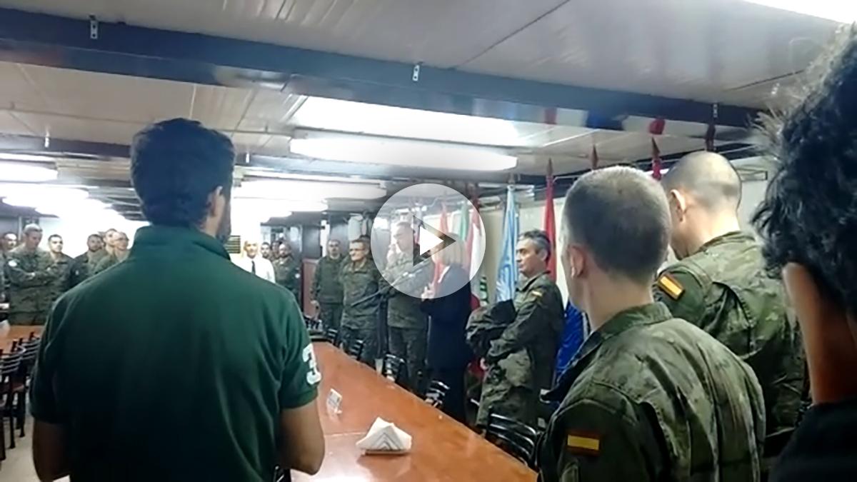 María Dolores de Cospedal visita a las tropas españolas destinadas en Líbano. Foto: OKD