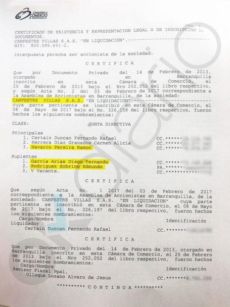 Certificado de la Cámara de Comercio de Barranquilla (Colombia) sobre la sociedad Campestre Villas SAS.