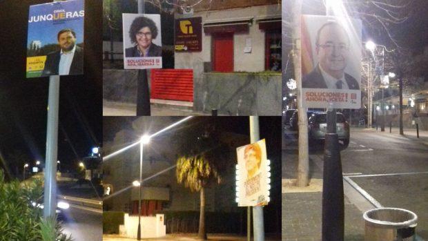 Un montaje con diversas fotos que muestran como aún no se han retirado los carteles electorales de las calles de Calafell. Foto: FB
