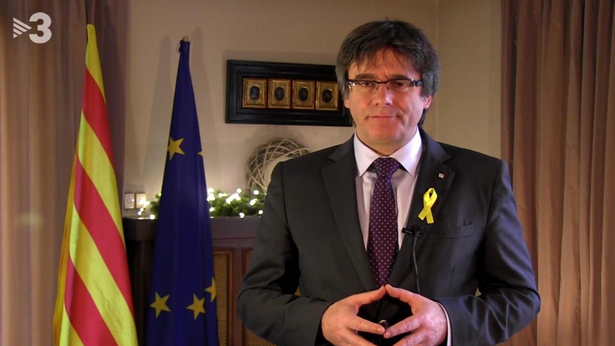 Carles Puigdemont en su «mensaje de Fin de Año» emitido a través de las redes sociales.