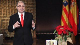 Javier Lambán, presidente de Aragón, durante su discurso de Año Nuevo.