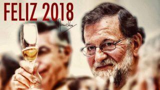 """El presidente Mariano Rajoy brinda por un """"feliz 2018"""" en su Twitter."""