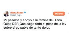 Tuit de Albert Rivera tras la aparición del cuerpo sin vida de Diana Quer.