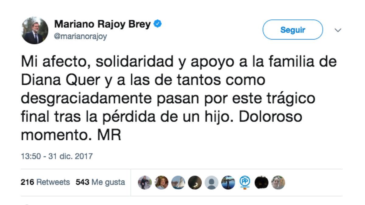 Tuit de Mariano Rajoy tras el hallazgo del cadáver de Diana Quer.