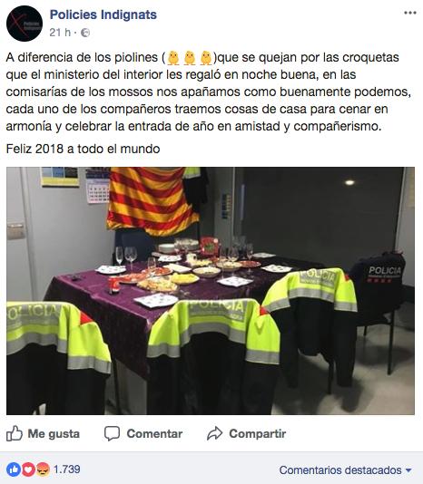 Mossos publican una foto de su cena en Nochevieja y se burlan de las de la Policía y la Guardia Civil