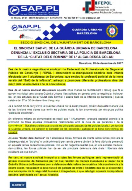 """Nota del SAP criticando a la alcaldesa de Barcelona por la """"exclusión sectaria"""" de la Guardia Urbana"""