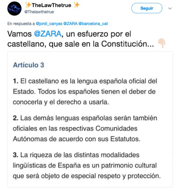 Tuit que pide carteles en español en las tiendas de Zara en Barcelona
