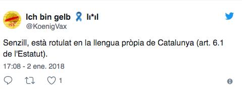 Tuit que apoya no haya carteles en español en las tiendas de Zara en Barcelona