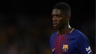 Ousmane Dembélé durante un encuentro con el Barcelona (Getty)