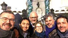 El equipo negociador de JxCAT este miércoles en Bruselas.