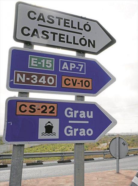 Señalización viaria actual de Castellón en las dos lenguas