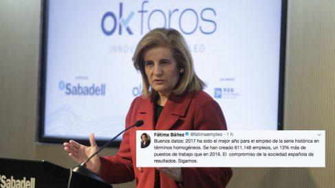 """La ministra de Empleo, Fátima Báñez, celebra los datos del paro de 2017 como el mejor año """"para el empleo de la serie histórica en términos homogéneos"""""""