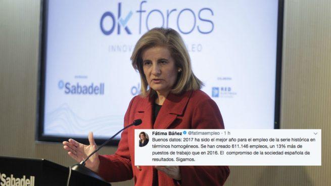 La ministra de Empleo, Fátima Báñez, celebra los datos del paro de 2017 como el mejor año
