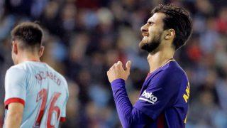 André Gomes se lamenta durante el Celta vs Barcelona (EFE)