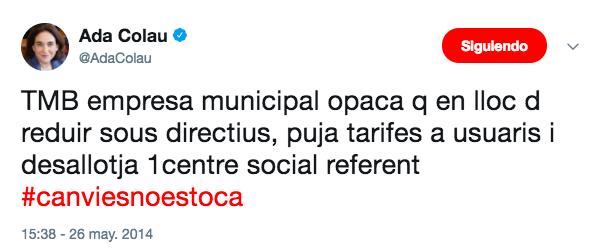 Ada Colau criticaba en 2014 la subida de tarifas en el transporte público que ahora aplica