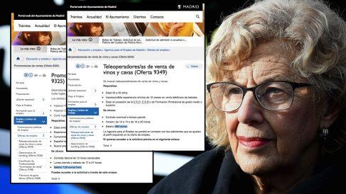 Manuela Carmena junto a las ofertas de empleo precario.