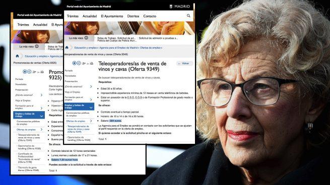 La Agencia de Empleo de Carmena ofrece trabajo basura: salarios de 7 €/h por vender cava por teléfono