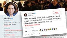 Tuit de Colau cuando criticaba en 2014 la subida de precios que ahora aplica