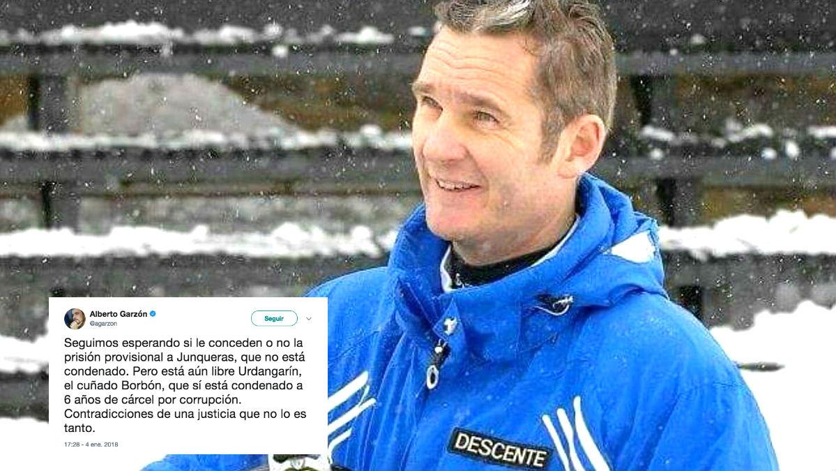 El tuit de Alberto Garzón y la fotografía de Iñaki Urdangarin de hace cinco años.