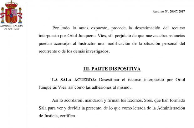 El Supremo mantiene en prisión a Junqueras por unanimidad