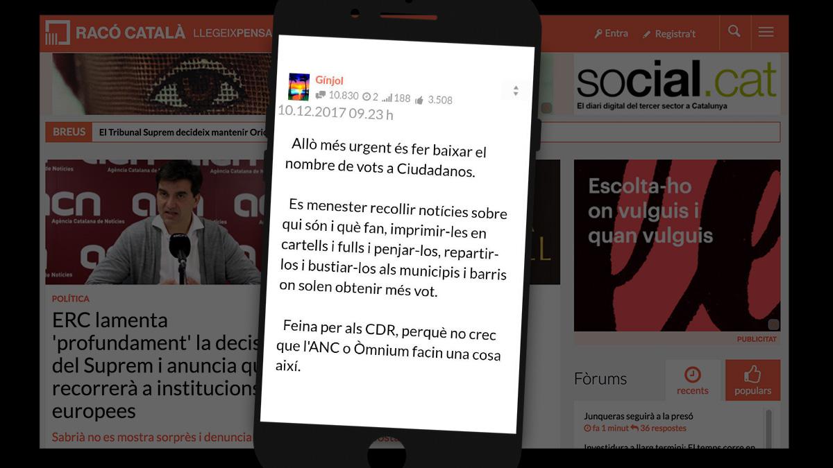 Racó Catalá y el mensaje para que los CDR persigan a Ciudadanos