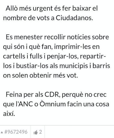 Llamamiento en Racó Catalá a que los CDR persigan a cargos y militantes de Ciudadanos