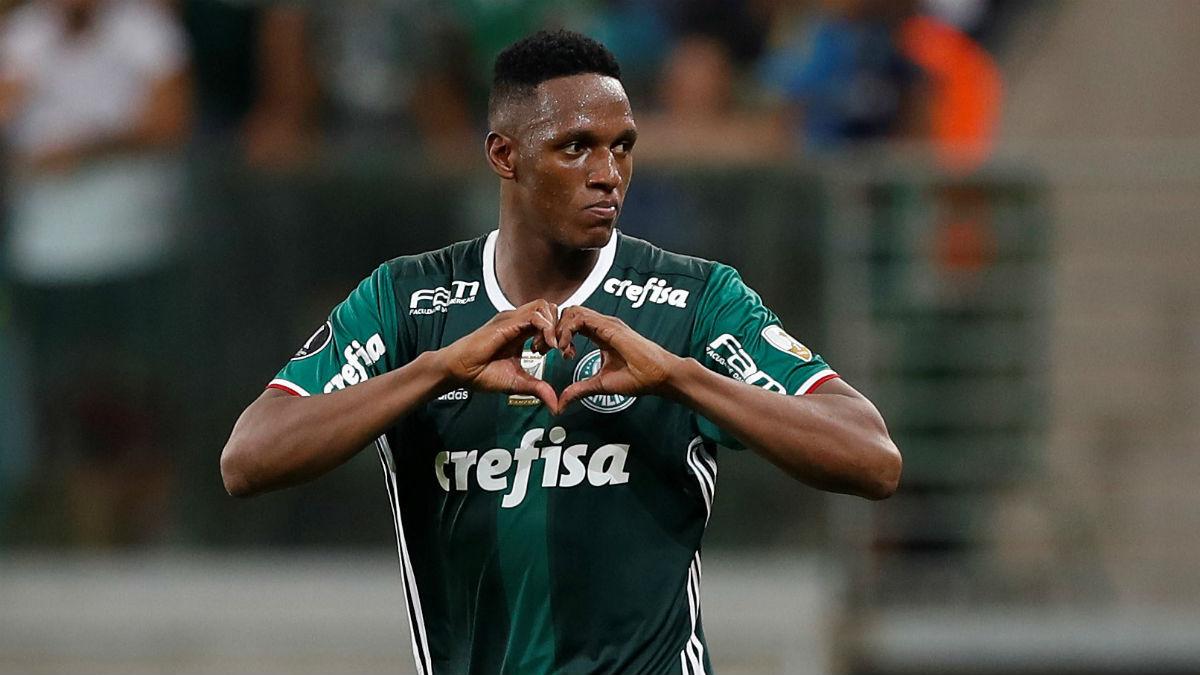 Yerry Mina celebra un gol con el Palmeiras. (Getty)