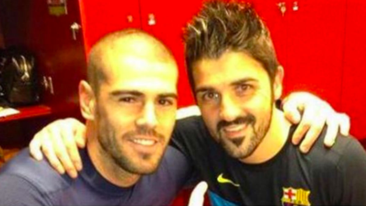 Villa y Valdés durante su etapa en el Barcelona.