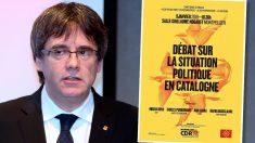 Puigdemont y el carte que anuncia el debate de Montpellier