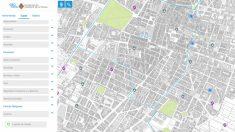 El geolocalizador de la web del Ayuntamiento de Castellón que señala con una media luna los centros católicos de la ciudad