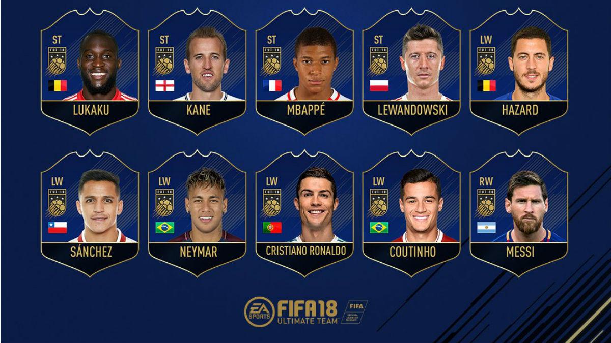 Algunos de los candidatos al equipo del año en el FIFA 18