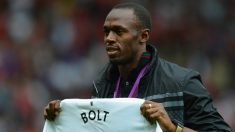 Usain Bolt en Old Trafford. (Getty Images)